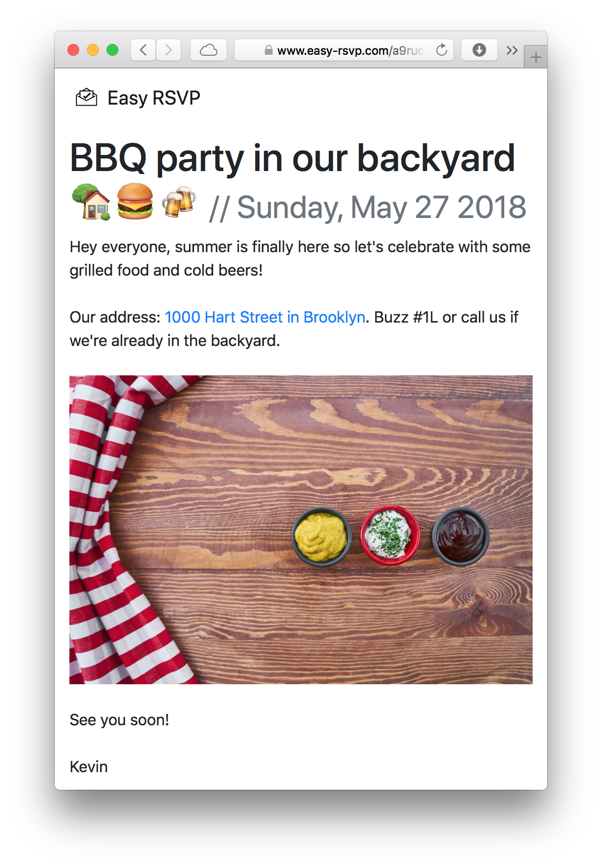 An event page on Easy RSVP: 'BBQ party in our backyard 🏡🍔🍻'.